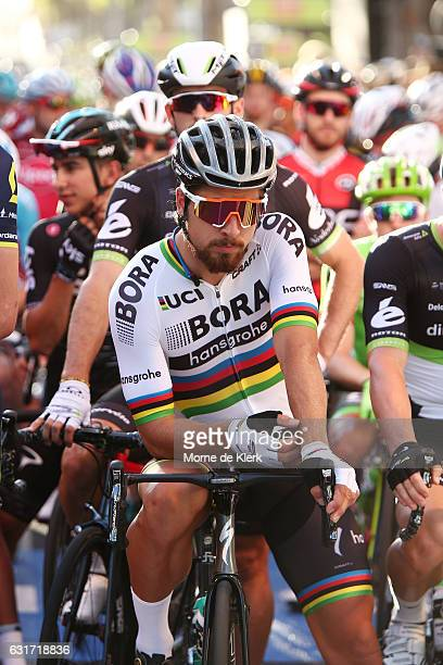 Slovakian cyclist Peter Sagan of the Bora Hansgrohe team gets ready for the start of the People's Choice Classic street race a preview race to the...
