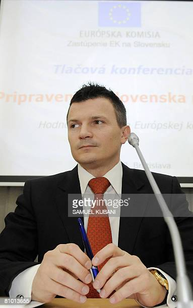 Slovakian Finance Minister Jan Pociatek attends a press conference on May 7 2008 in Bratislava Slovakia hailed as historic today twin reports by the...