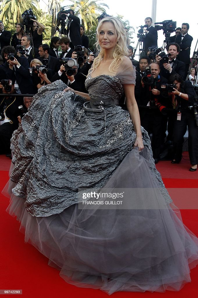 Slovakian model Adriana Karembeu arrive for the screening of 'Biutiful' presented in competition at the 63rd Cannes Film Festival on May 17, 2010 in Cannes.