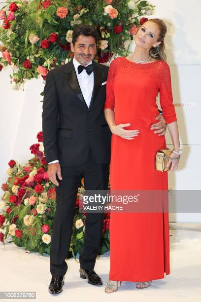 Slovakian model and French Red Cross Ambassador Adriana Karembeu and her husband and businessman Aram Ohanian pose as they arrive to attend the 70th...