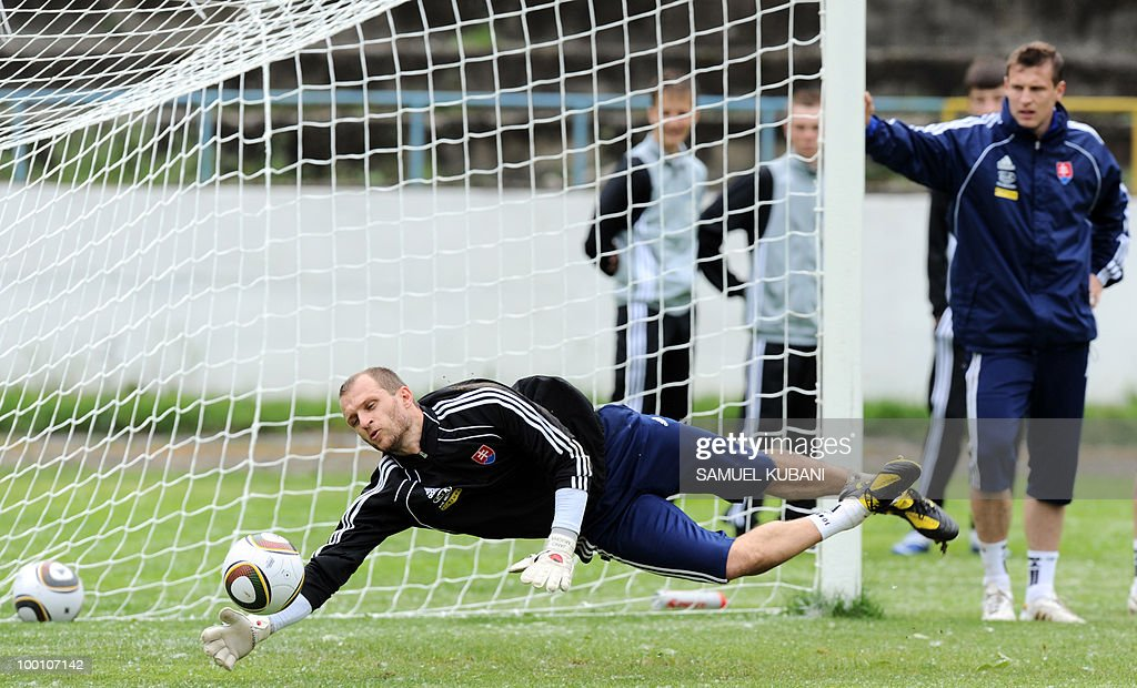 Slovakian national football goalkeeper Jan Mucha saves the ball during a training session on May 20, 2010, at their training camp in Piestany, prior to the FIFA World cup 2010 held in South Africa.
