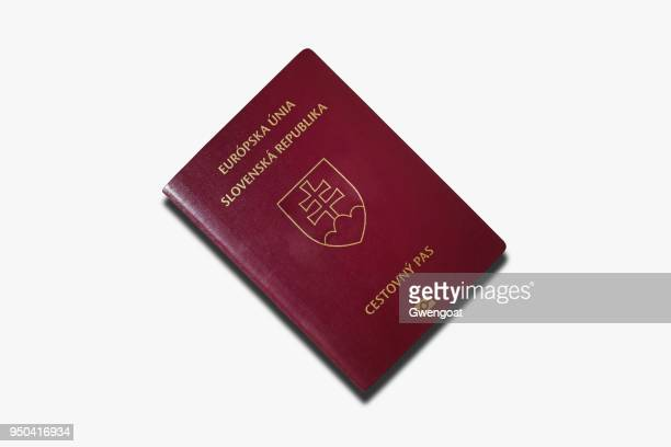 slovakian passport isolated on a white background - slovakia stock pictures, royalty-free photos & images