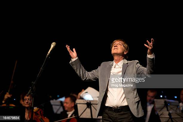 Slovakian pop musician Miro Zbirka performing live onstage with the Slovak Symphonic Orchestra at Sadler's Wells Theatre, August 8, 2012.