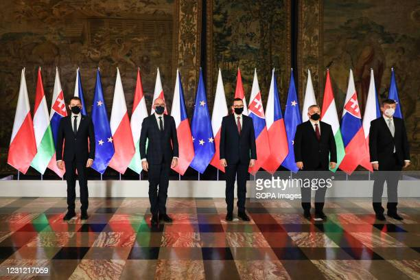 Slovakian Prime Minister Igor Matovic, President of the European Council Charles Michel, Polish Prime Minister Mateusz Morawiecki, Hungarian Prime...