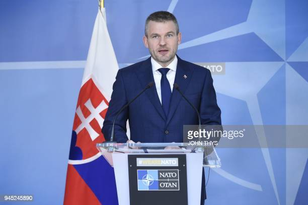 Slovakian Prime Minister Peter Pellegrin talks during a joint press after their bilateral meeting with NATO Secretary General on April 12 2018 at the...