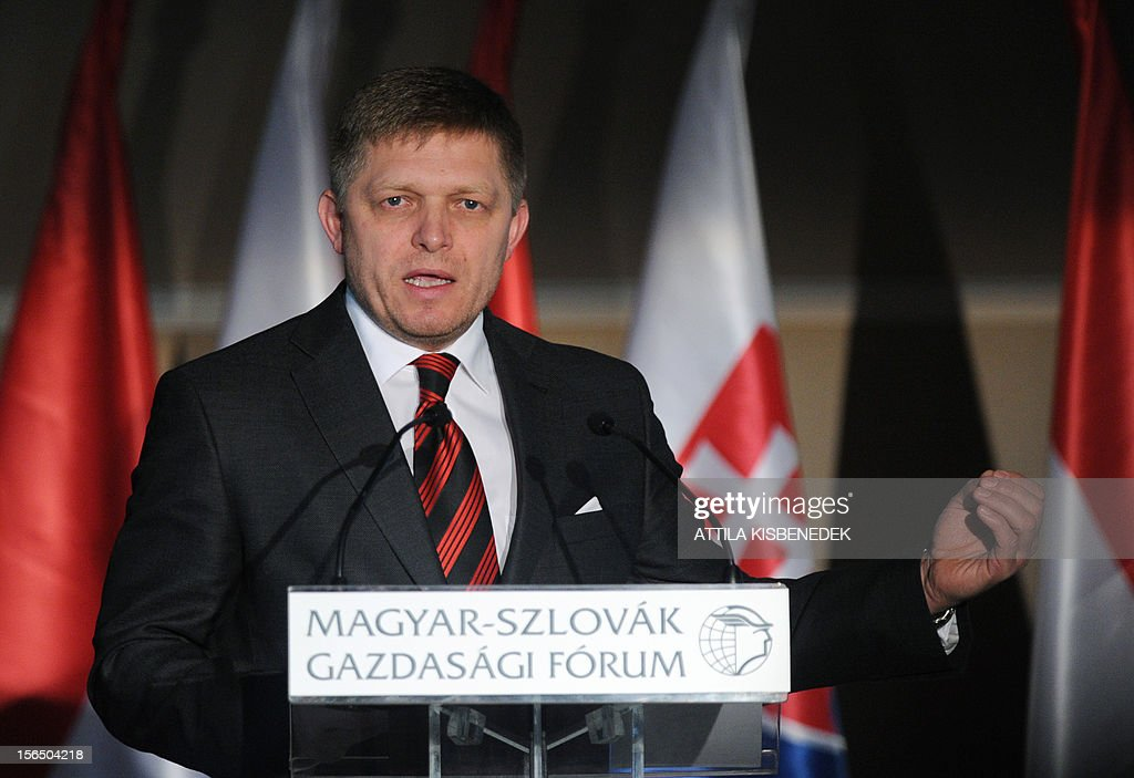 Slovakian Prime Minister Robert Fico addresses his speech at the Hotel Corinthia of Budapest on November 16, 2012 during the Hungarian-Slovakian Economic Forum, organized by the Hungarian Chamber of Commerce.