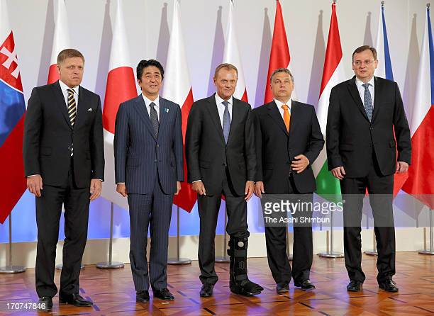 Slovakian Prime Minister Robert Fico Japanese Prime Minister Shinzo Abe Polish Prime Minister Donald Tusk Hungarian Prime Minister Victor Orban and...