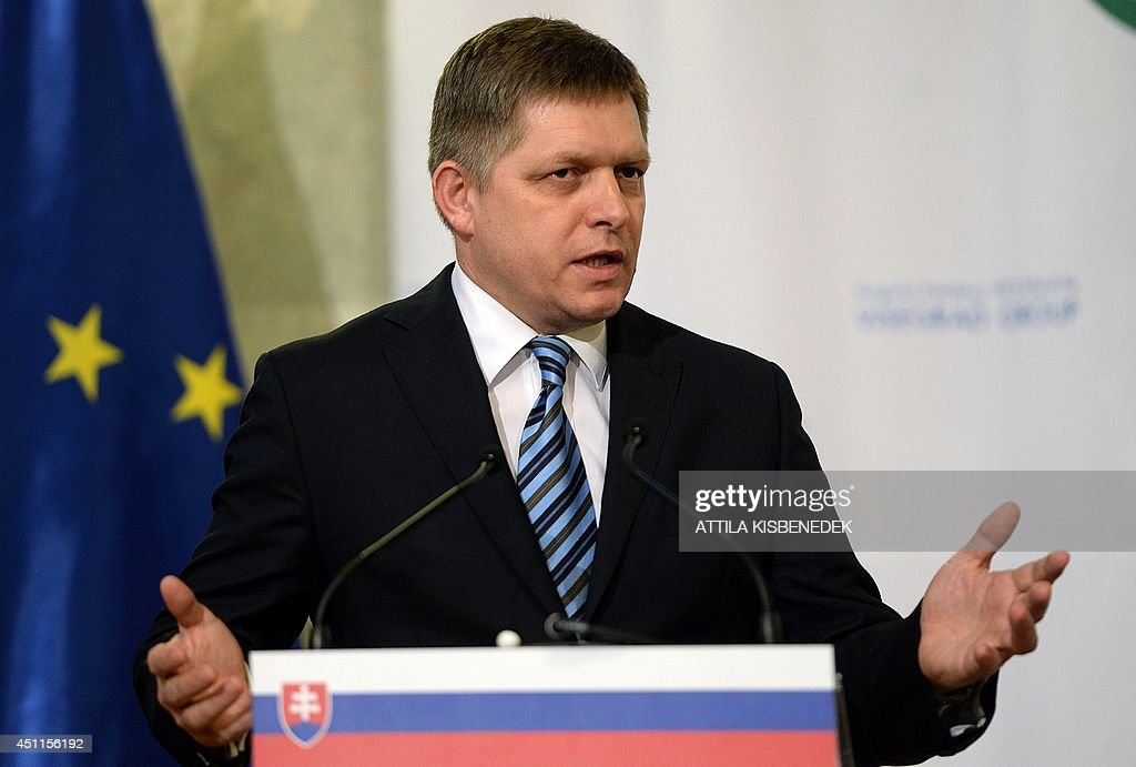Slovakian Prime Minister Robert Fico speaks during a joint press conference with the President of the European Commission and the Prime Ministers of the Visegrad countries (V4) in the Delegation Hall of the parliament building in Budapest, Hungary on June 24, 2014.