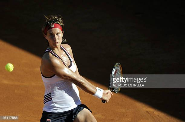 Slovakian tennis player Polona Hercog returns the ball to Spanish tennis player Carla Suarez, during the fifth day of the WTA Open in Acapulco,...