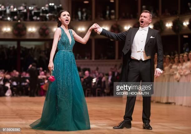 Slovakian Tenor Pavol Breslik and Moldavian Soprano Valentina Nafornita perform during the opening ceremony of the the Vienna Opera Ball on February...