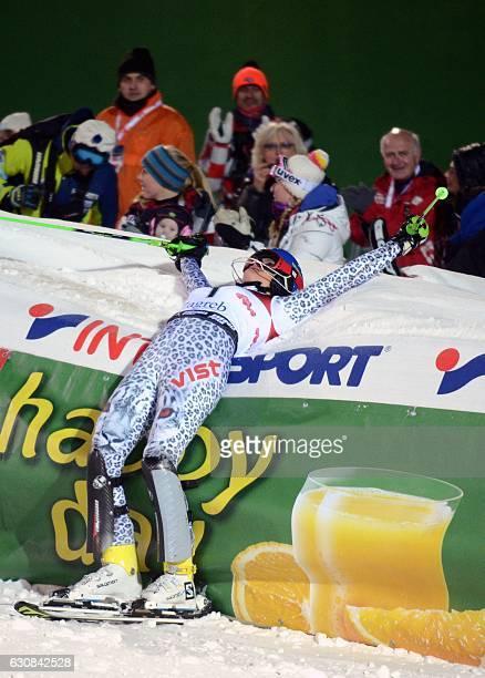 Slovakian Veronika Velez Zuzulova celebrates after her second run of the FIS slalom ski event on Sljeme mountain some 10 km from Zagreb on January 3...