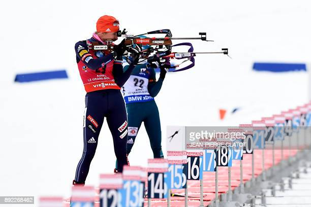 Slovakia's Anastasiya Kuzmina competes alongside Ukraine's Valj Semerenko during the women's 75 km sprint event at the IBU World Cup Biathlon in Le...