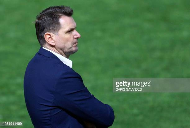 Slovakia's coach Stefan Tarkovic looks on during the 2022 FIFA World Cup qualifier group H football match between Cyprus and Slovakia at the GSP...