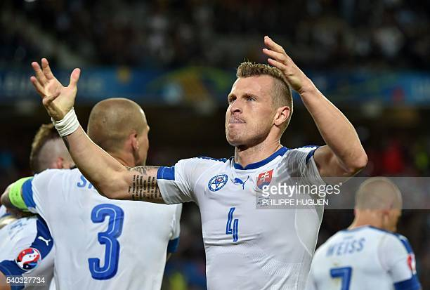 Slovakia's defender Jan Durica celebrates his team's second goal during the Euro 2016 group B football match between Russia and Slovakia at the...