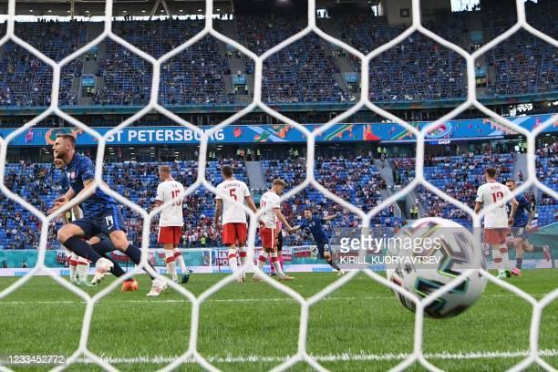 Slovakia's defender Milan Skriniar celebrates after scoring his team's second goal during the UEFA EURO 2020 Group E football match between Poland...