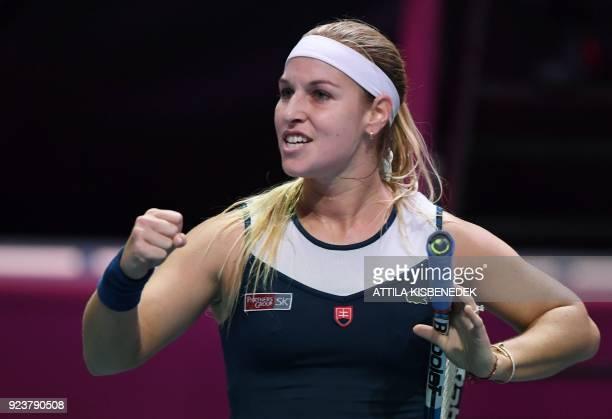 Slovakia's Dominika Cibulkova celebrates after winning against Germany's Mona Barthel in their semifinal match of the WTA Hungarian Open Ladies'...