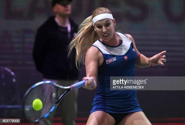 Slovakia's Dominika Cibulkova plays a forehand against Germany's Mona Barthel during their semifinal match of the WTA Hungarian Open Ladies' tennis...