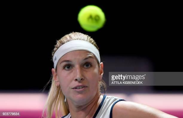 Slovakia's Dominika Cibulkova plays the ball against Germany's Mona Barthel during their semifinal match of the WTA Hungarian Open Ladies' tennis...