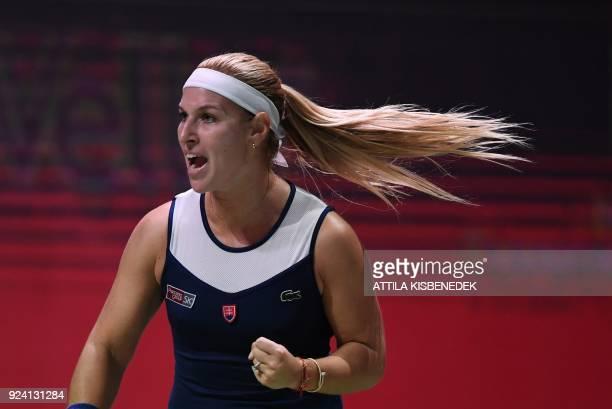 Slovakia's Dominika Cibulkova reacts during her final match of the WTA Hungarian Open Ladies' tennis tournament against Belgium's Alison Van Uytvanck...