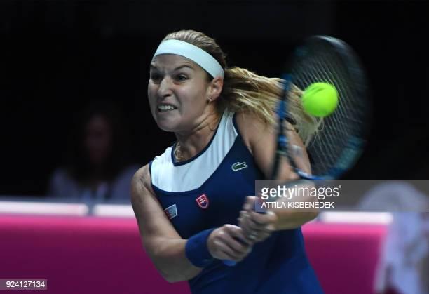 Slovakia's Dominika Cibulkova returns the ball to Belgium's Alison Van Uytvanck during their final match of the WTA Hungarian Open Ladies' tennis...