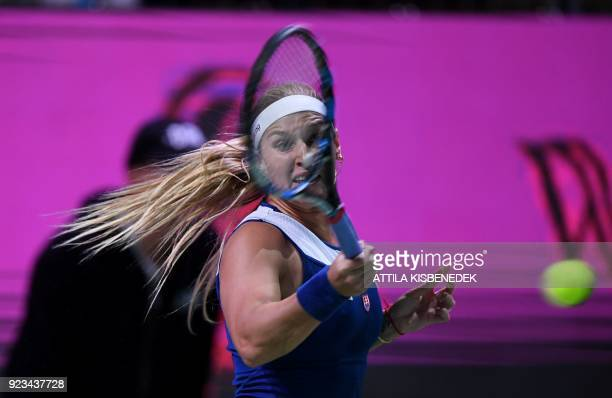 Slovakia's Dominika Cibulkova returns the ball to Sweden's Johanna Larsson during their tennis match at the Hungarian Ladies Open on February 23 2018...