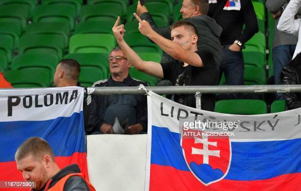 Slovakia's fans gesture prior to the UEFA Euro 2020 Group E qualification football match Hungary v Slovakia on September 9, 2019 at the Groupama...