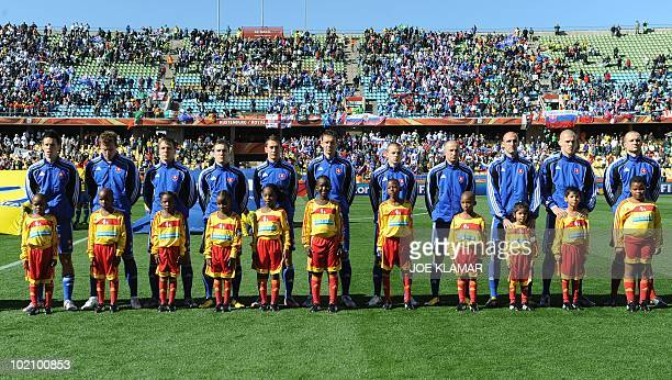 Slovakia's football team poses before during the Group F first round 2010 World Cup football match New Zealand vs Slovakia on June 15 2010 at Royal...