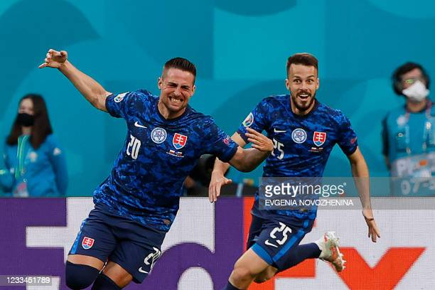 Slovakia's forward Robert Mak celebrates after scoring his team's first goal during the UEFA EURO 2020 Group E football match between Poland and...