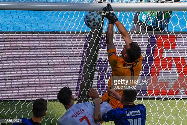 Slovakia's goalkeeper Martin Dubravka scores an own goal during the UEFA EURO 2020 Group E football match between Slovakia and Spain at La Cartuja...