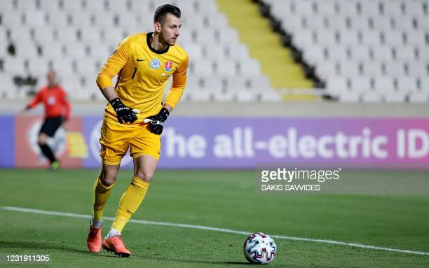 Slovakia's goalkeeper Martin Dubravka takes a goal kick during the 2022 FIFA World Cup qualifier group H football match between Cyprus and Slovakia...