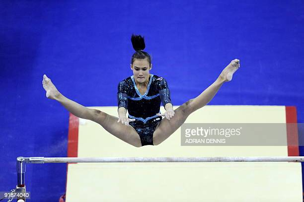 Slovakia's Ivana Kovacova performs in the uneven bars event during the Artistic Gymnastics World Championships 2009 at the 02 Arena in east London on...