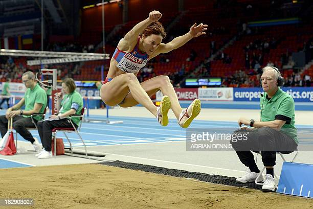 Slovakia's Jana Veldakova competes during the Women's Long Jump qualification at the European Indoor Championships in Gothenburg Sweden on March 1...