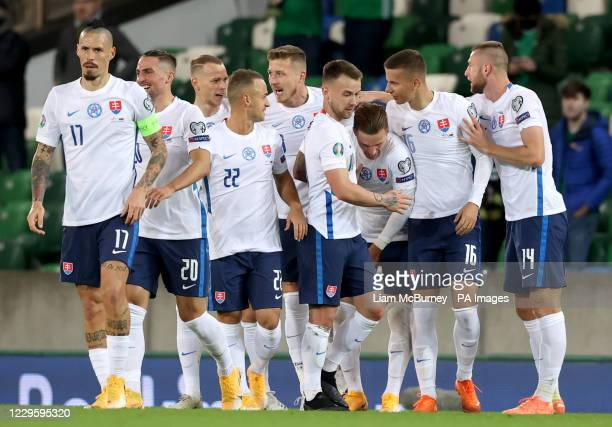 Slovakia's Juraj Kucka celebrates scoring his side's first goal of the game during the UEFA Euro 2020 Play-off Finals match at Windsor Park, Belfast.
