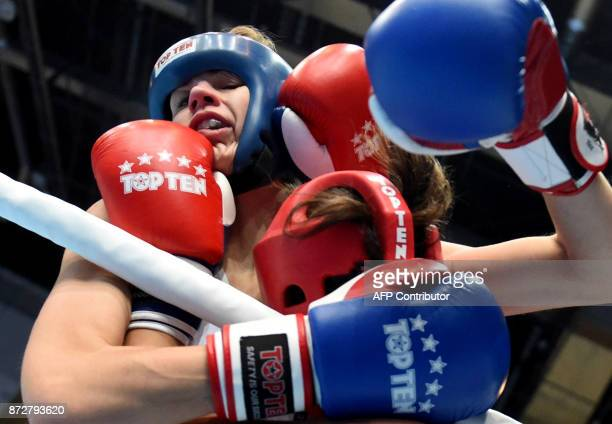 Slovakia's Lucia Cmarova fights with Turkey's Nagihan Kalyoncu in the 'Women K1 60kg category' in the 'BOK' sports hall in Budapest on November 9...