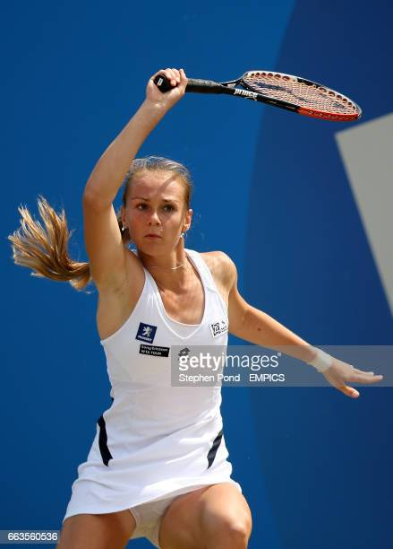 Slovakia's Magdalena Rybarikova in action before victory over India's Sania Mirza in their semi final match