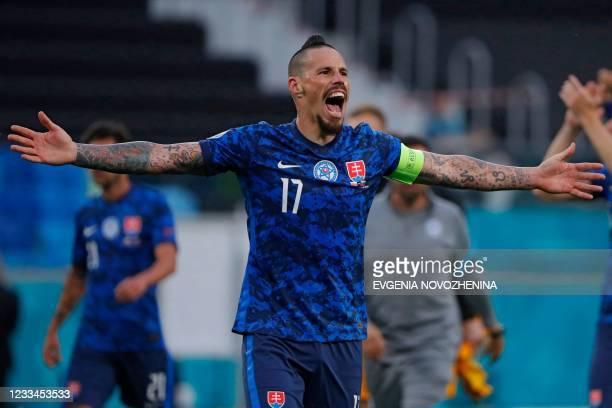 Slovakia's midfielder Marek Hamsik celebrates after winning the the UEFA EURO 2020 Group E football match between Poland and Slovakia at the Saint...
