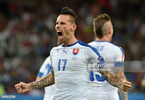 TOPSHOT Slovakia's midfielder Marek Hamsik celebrates his goal during the Euro 2016 group B football match between Russia and Slovakia at the...