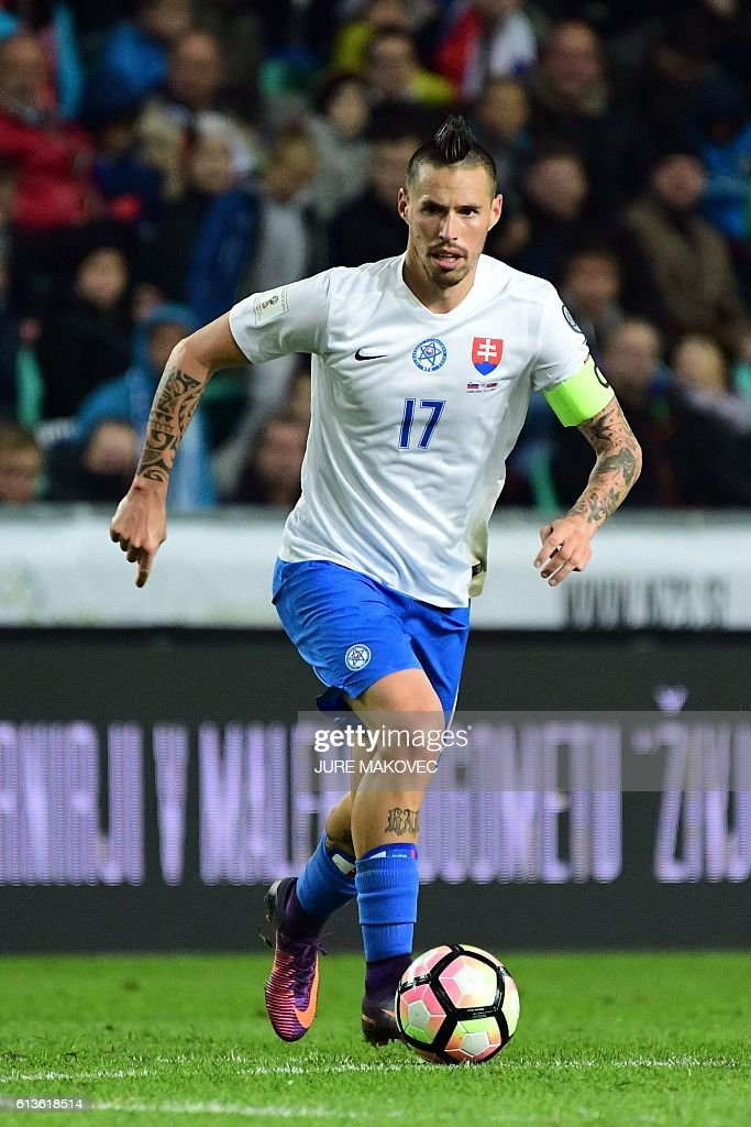 Slovakia's midfielder Marek Hamsik controls the ball during FIFA World Cup 2018 qualifying football match between Slovenia and Slovakia at Stozice Stadium in Ljubljana, Slovenia on October 8, 2016. / AFP / Jure MAKOVEC