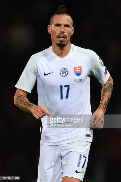 Slovakia's midfielder Marek Hamsik making his 100th appearance for his country during the FIFA World Cup 2018 qualifying football match between...