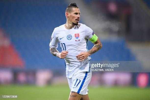 Slovakia's midfielder Marek Hamsik runs during the UEFA Nations League football match Czech Republic v Slovakia in Plzen on November 18, 2020.