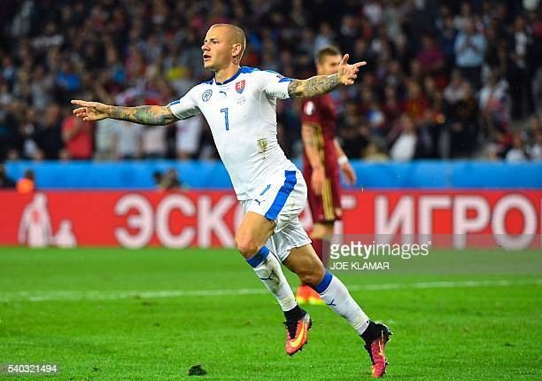 TOPSHOT Slovakia's midfielder Vladimir Weiss celebrates a goal during the Euro 2016 group B football match between Russia and Slovakia at the...
