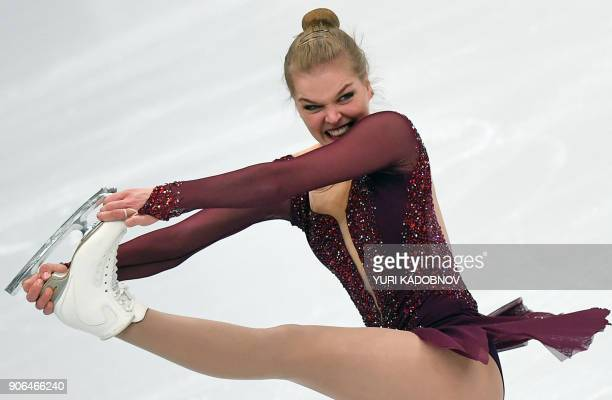 TOPSHOT Slovakia's Nicole Rajicova performs in the ladies' short program at the ISU European Figure Skating Championships in Moscow on January 18...