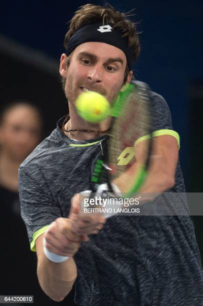 Slovakia's Norbert Gombos returns the ball to France's Nicolas Mahut during the ATP Marseille Open 13 tennis match against Germany's Jan-Lennard...