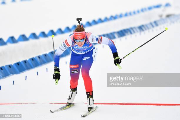 Slovakia's Paulina Fialkova crosses the fining line during the women's 15km individual event at the IBU Biathlon World Championships in Ostersund,...