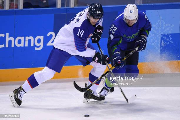 Slovakia's Peter Ceresnak and Slovenia's Marcel Rodman fight for the puck in the men's preliminary round ice hockey match between Slovakia and...
