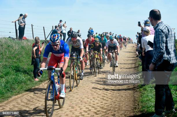 Slovakia's Peter Sagan and others compete during the 116th edition of the ParisRoubaix oneday classic cycling race between Compiegne and Roubaix on...