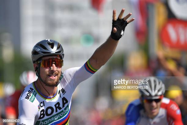 Slovakia's Peter Sagan celebrates after crossing the finish line to win the second stage of the 105th edition of the Tour de France cycling race...