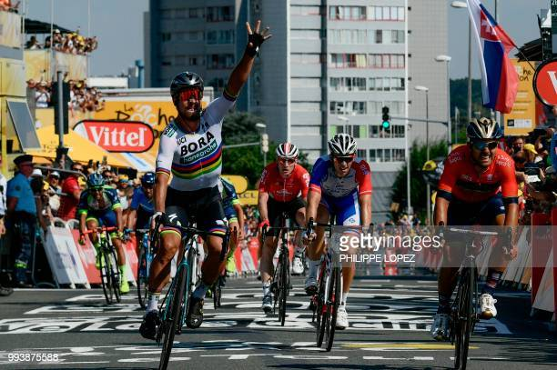 Slovakia's Peter Sagan celebrates after winning ahead of Italy's Sonny Colbrelli and France's Arnaud Demare the second stage of the 105th edition of...