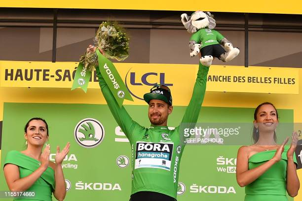 Slovakia's Peter Sagan celebrates his best sprinter's green jersey on the podium of the sixth stage of the 106th edition of the Tour de France...