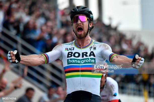 Slovakia's Peter Sagan celebrates winning the 116th edition of the ParisRoubaix oneday classic cycling race between Compiegne and Roubaix on April 8...
